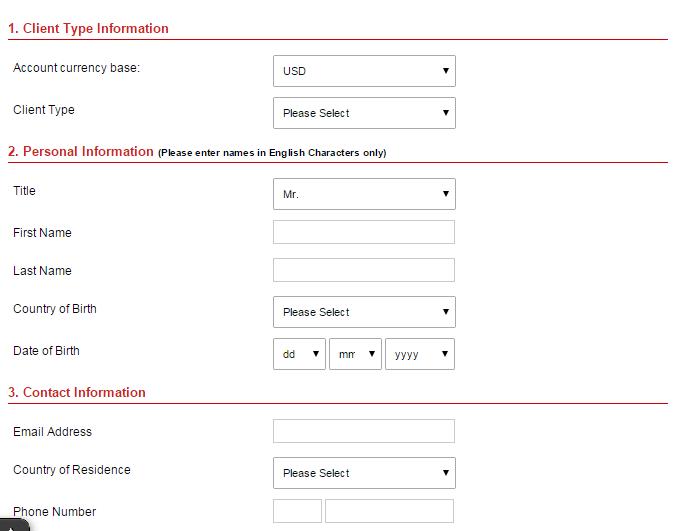 Vyplnění detailů pro forex demo účet