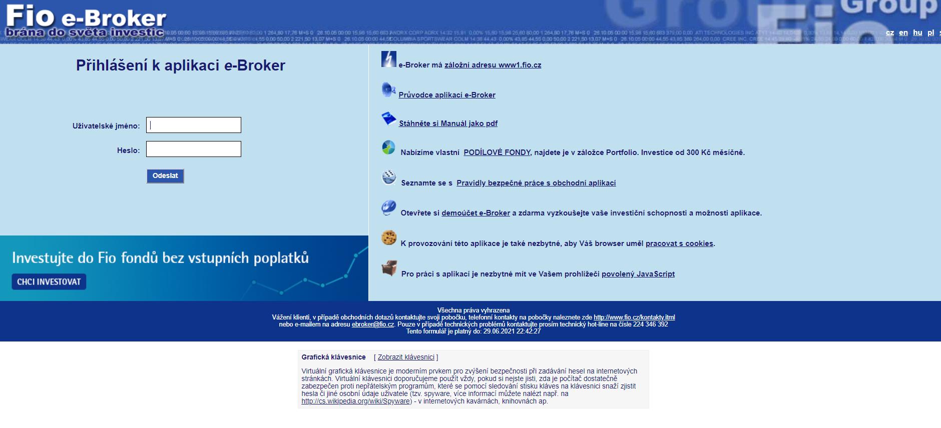 fio e broker přihlášení